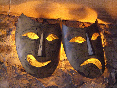 Theater masks voice acting
