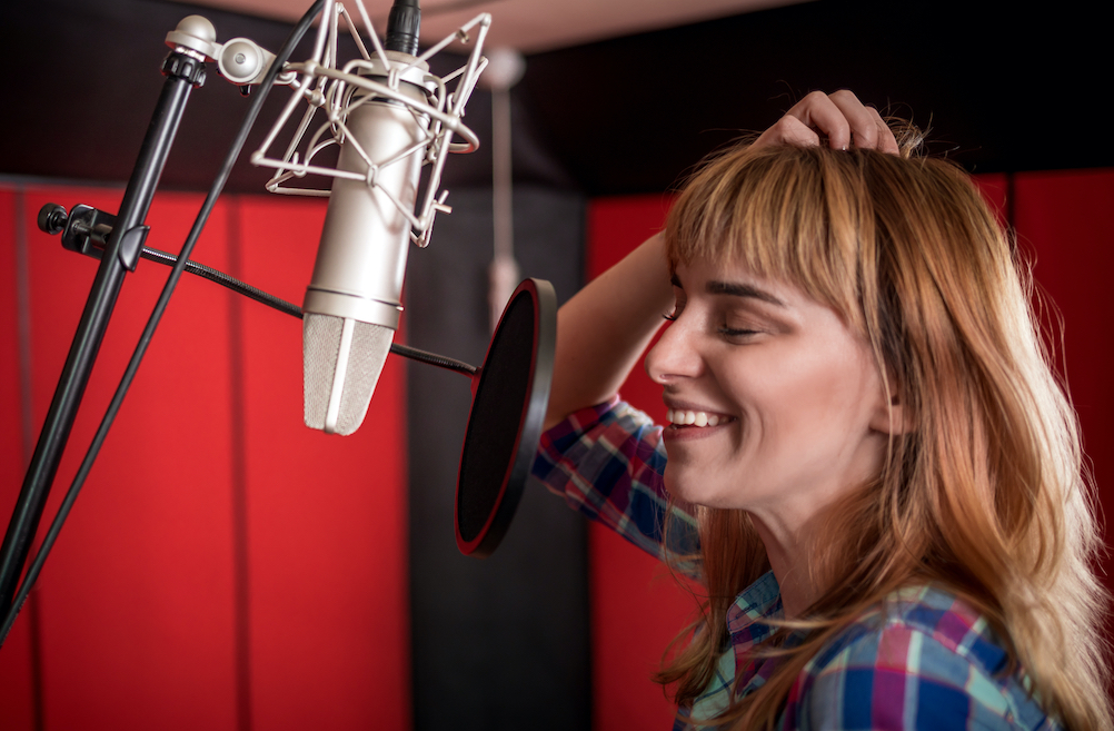 image of woman voice acting
