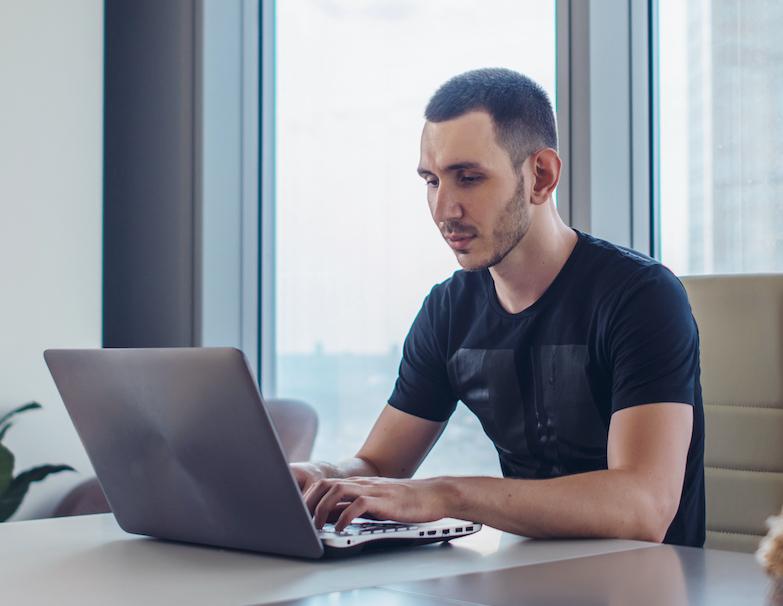 man writing documentary script