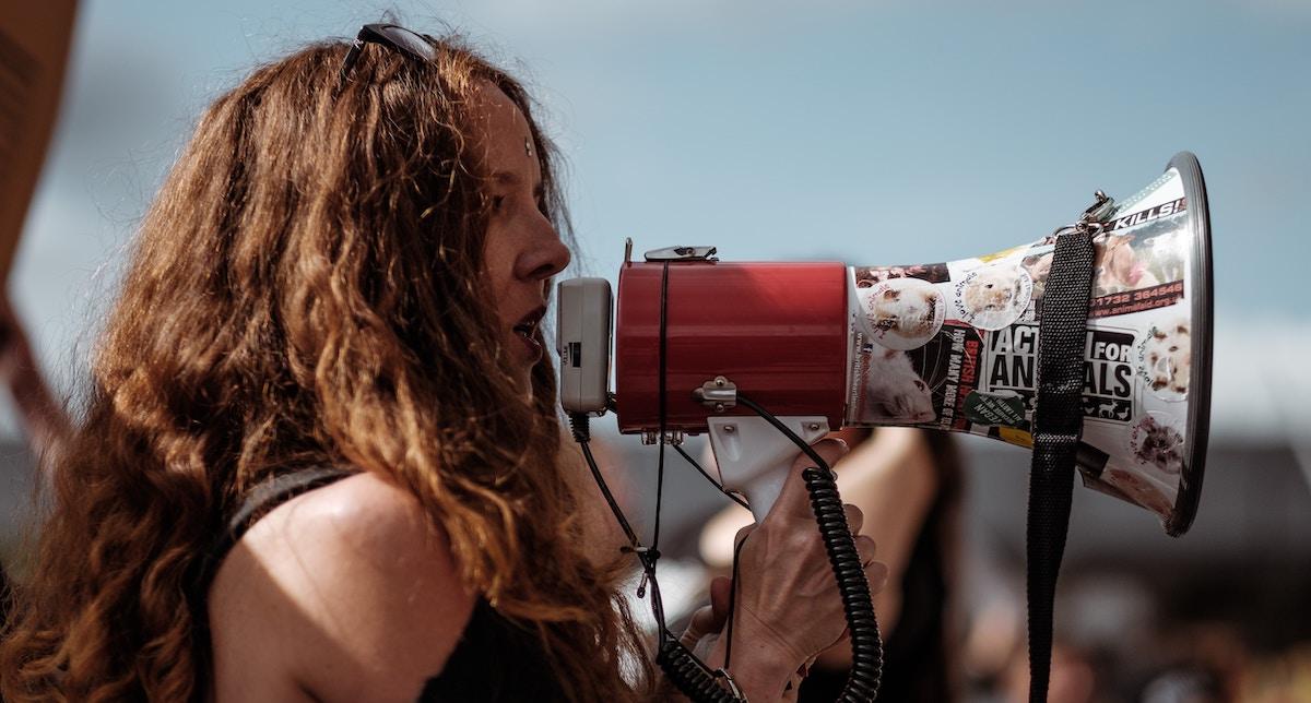 sonic branding: woman with megaphone