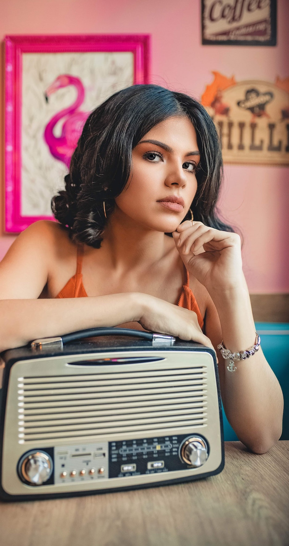 woman with vintage radio
