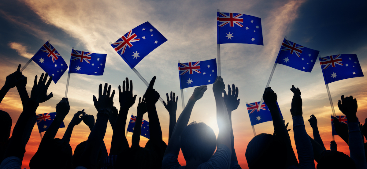 image of Australians waving flags