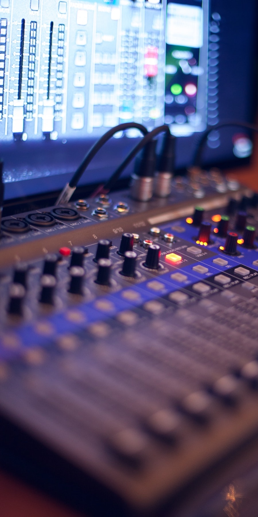 Edit a voice actor's voice over: image of a mixing desk