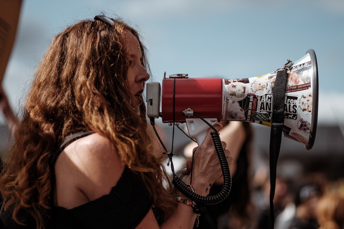 Casting the right voice actor: woman with megaphone