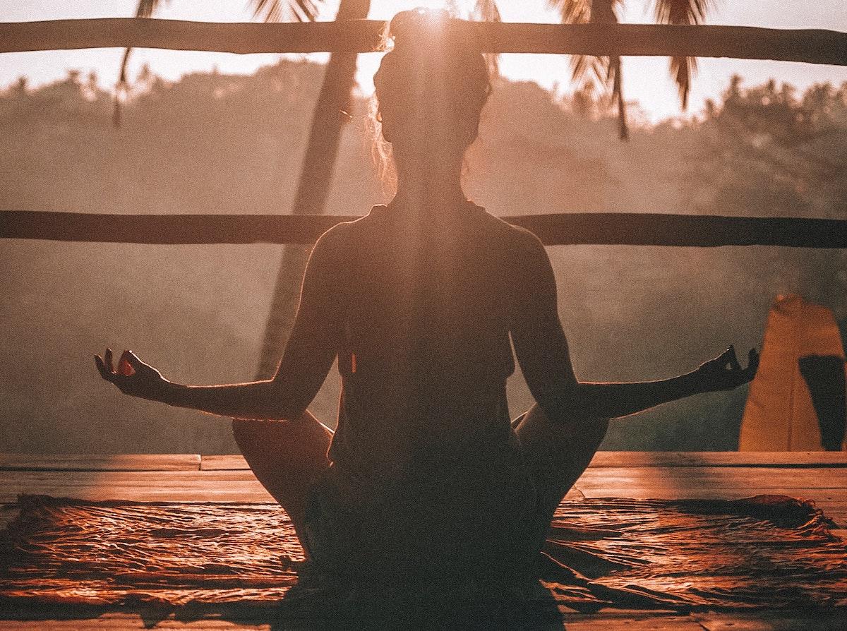 creative thinking: a woman meditating