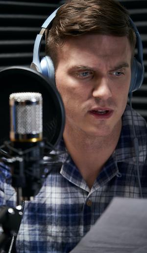 voice actor reading a script