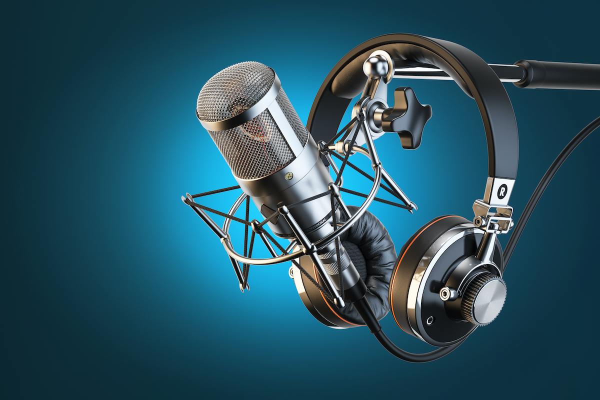 image of headphones and mic