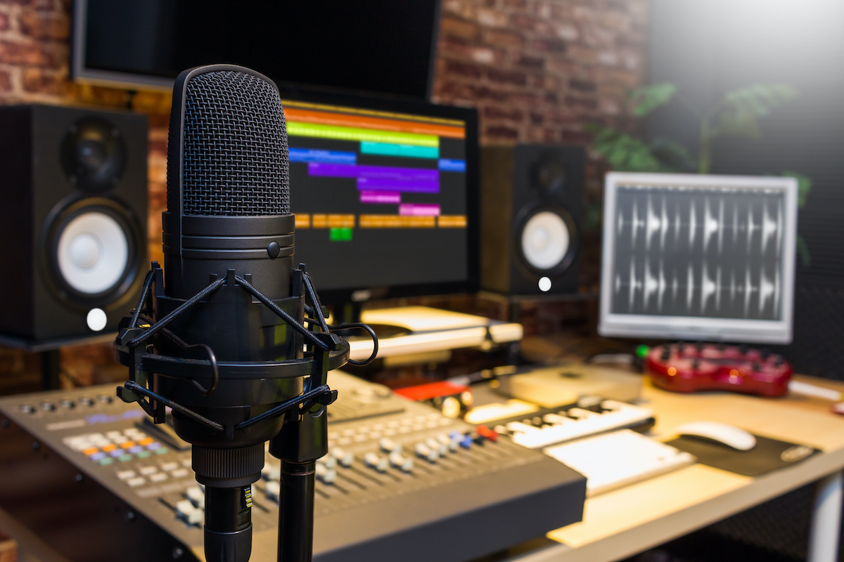 How to solve your COVID-19-induced advertising crisis: studio showing mic and software