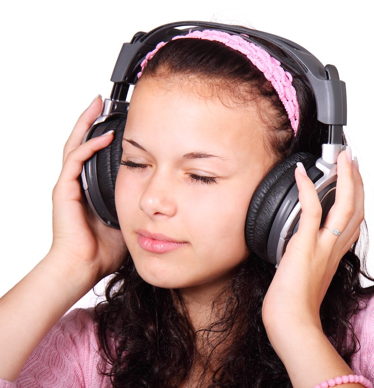 Promote your business: image of woman wearing headphones