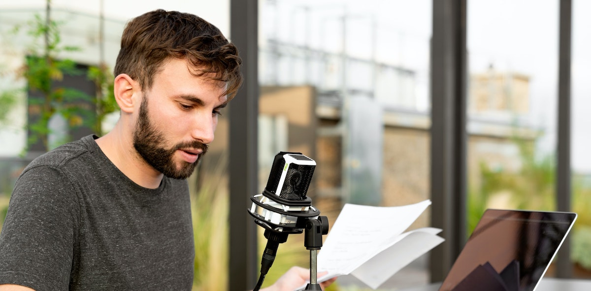 The power of voice over: man with microphone