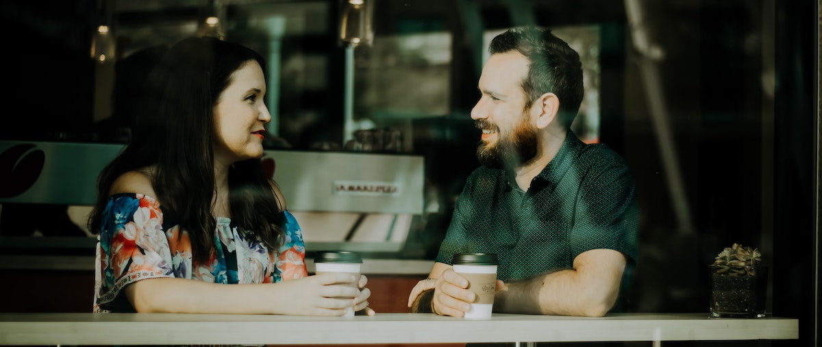 power of a voice over: man and woman in conversation