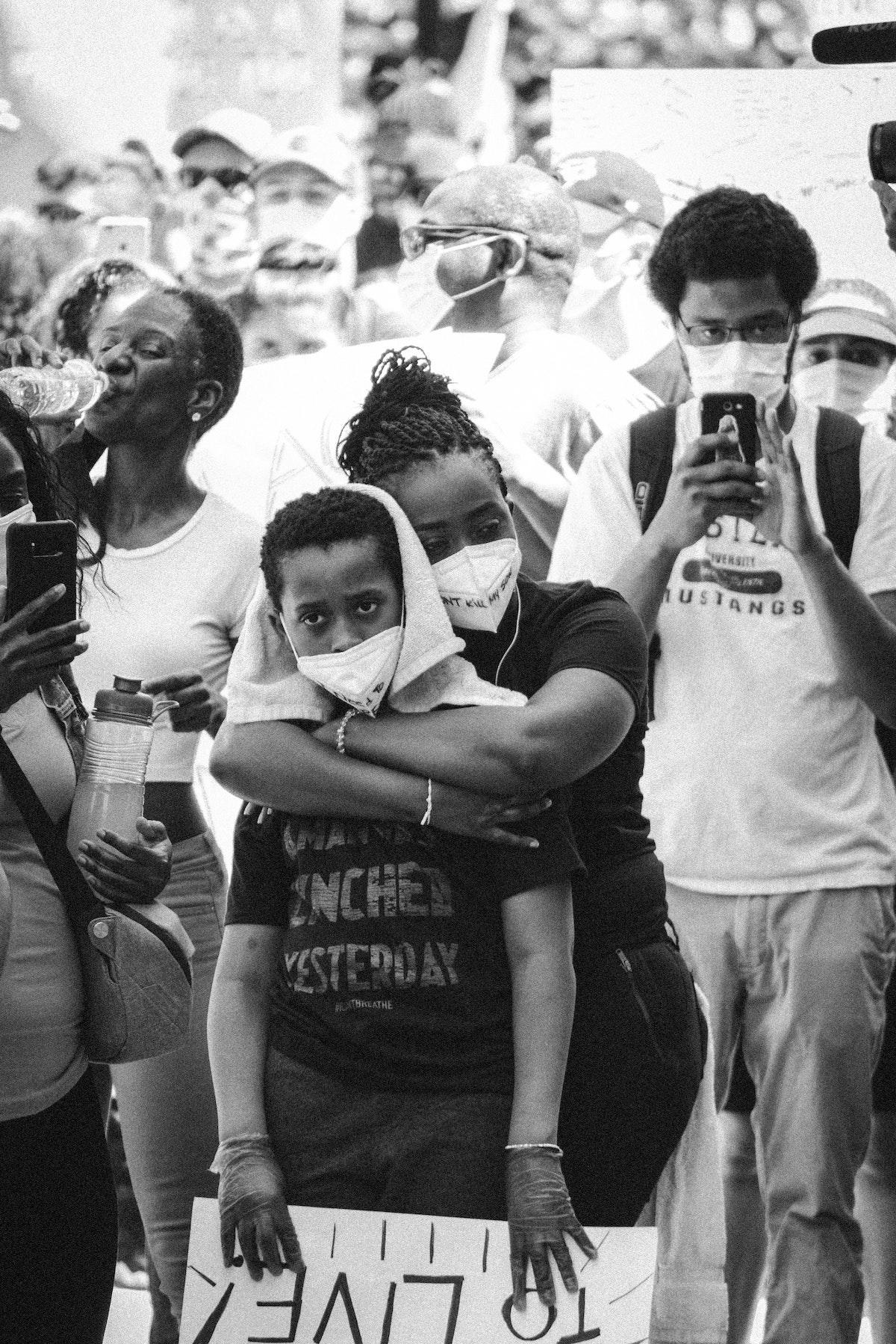 Covid pandemic: image of a Black Lives Matter demonstration.