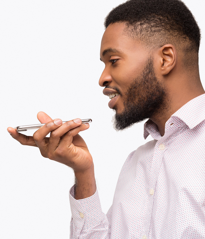 power of a voice over: guy speaking into his mobile phone
