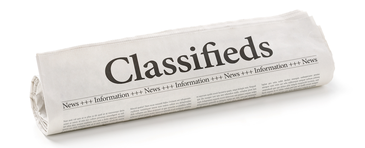 6-second ads: image of a newspapers classified section