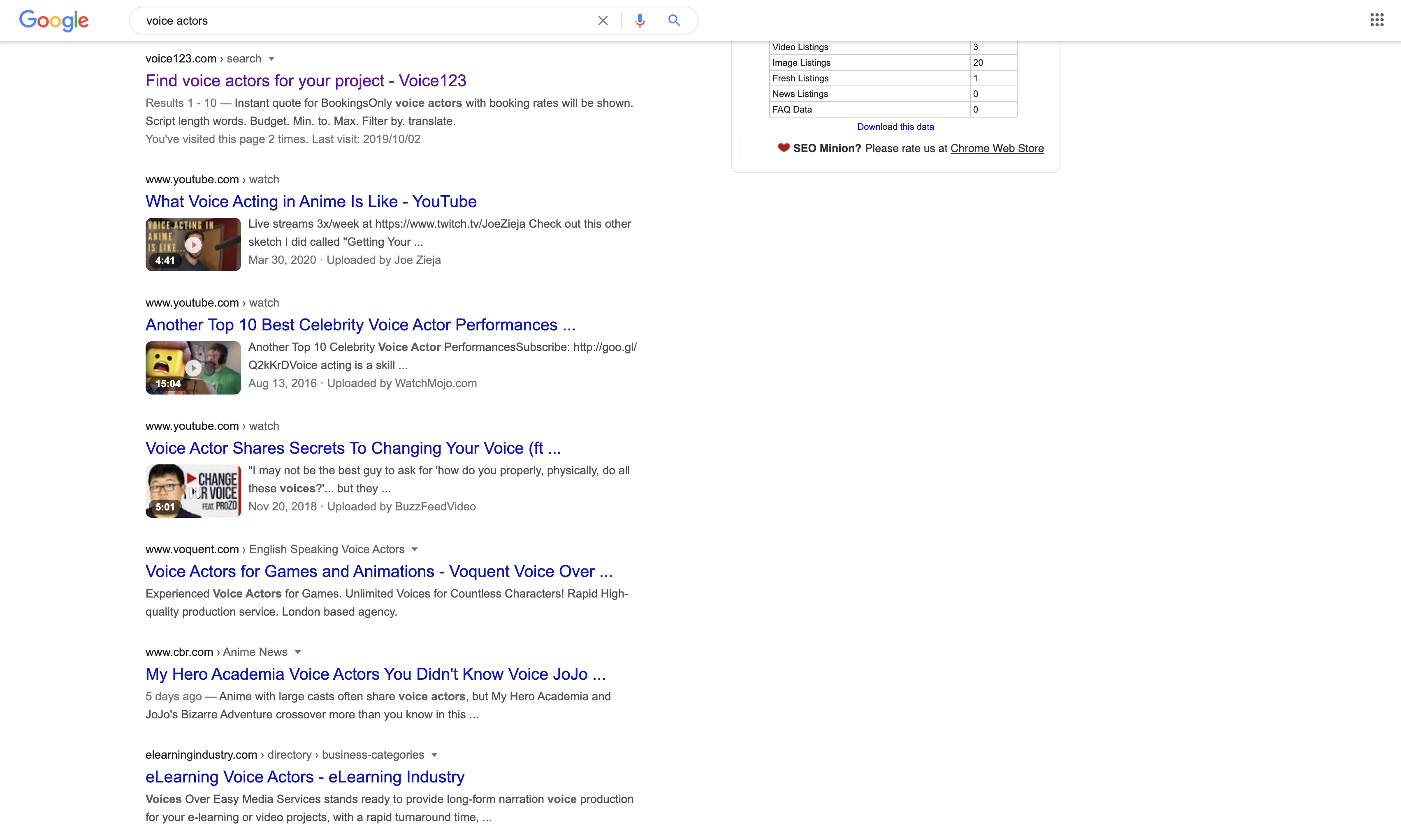 Choosing the best voice actor: image of Google search results