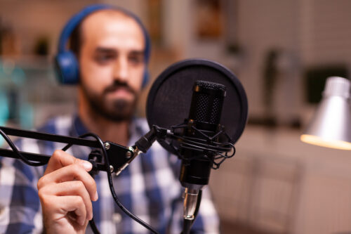 Podcast at your best: image of man podcasting