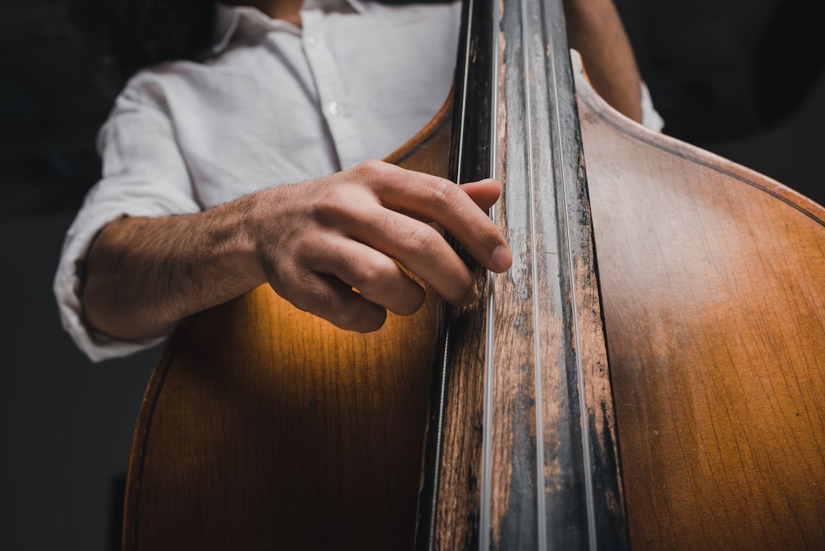 Great sound: a musician playing upright bass