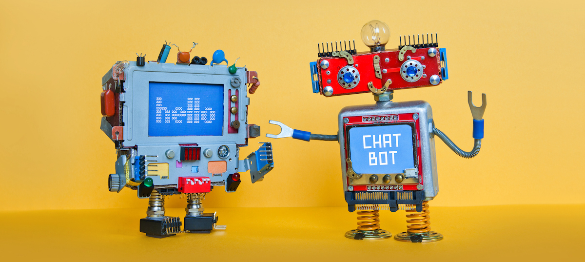Customer experience: image of two toy chatbots talking to one another