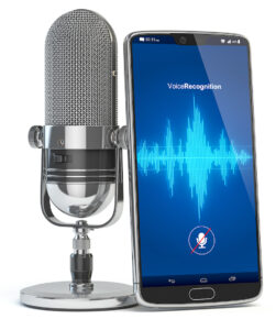 awesome voice: image of a microphone and a mobile phone