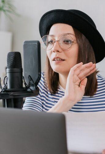 TikTok: image of a voice actor recording a script