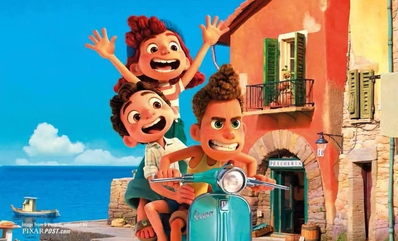 Luca's voice-cast: an image of the main characters in the movie riding a motor cycle